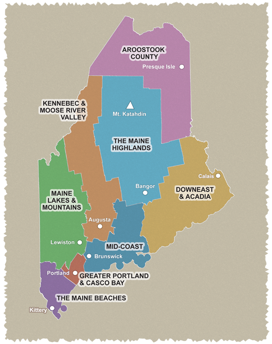 Map Of Maine Coastline Towns.Explore Maine By Region The Maine Beaches